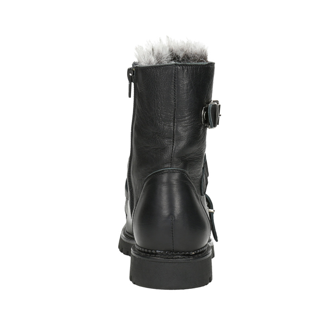 Leather Ankle Boots with Fur bata, black , 594-6656 - 16