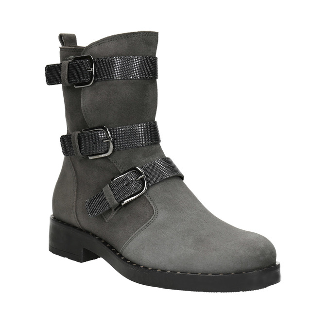 Ladies' high boots with buckles bata, gray , 593-2610 - 13