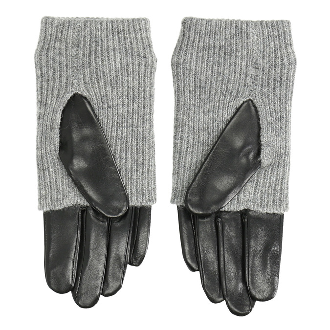 Leather gloves with sweater detail bata, gray , 904-2125 - 16
