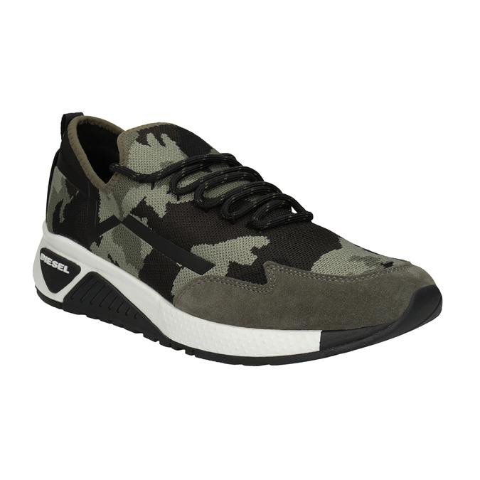 Men's patterned sneakers diesel, green, 809-7602 - 13