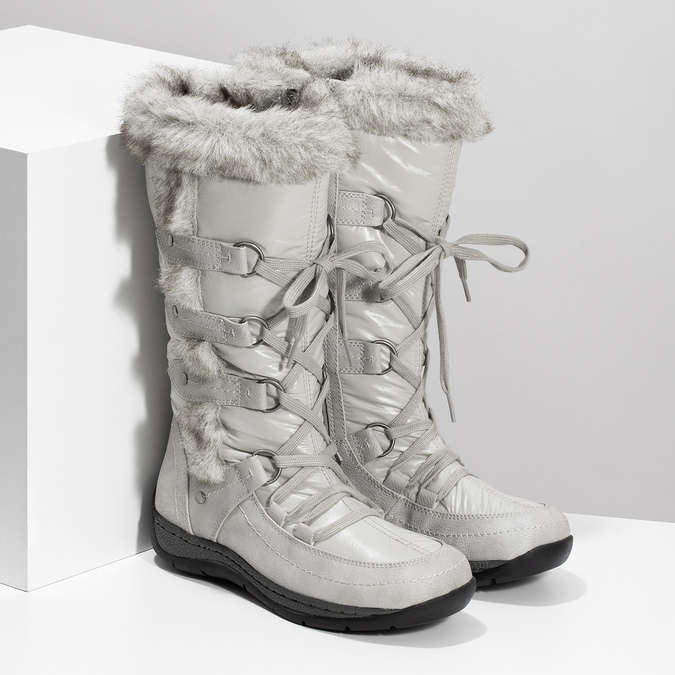 Winter snow boots with fur bata, gray , 599-8618 - 26
