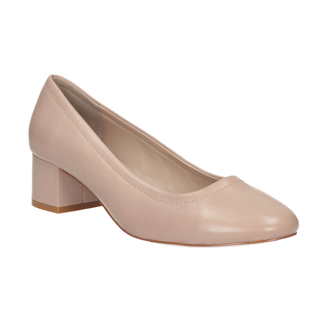 Pinkish cream-colored pumps on a low heel bata, pink , 624-8644 - 13