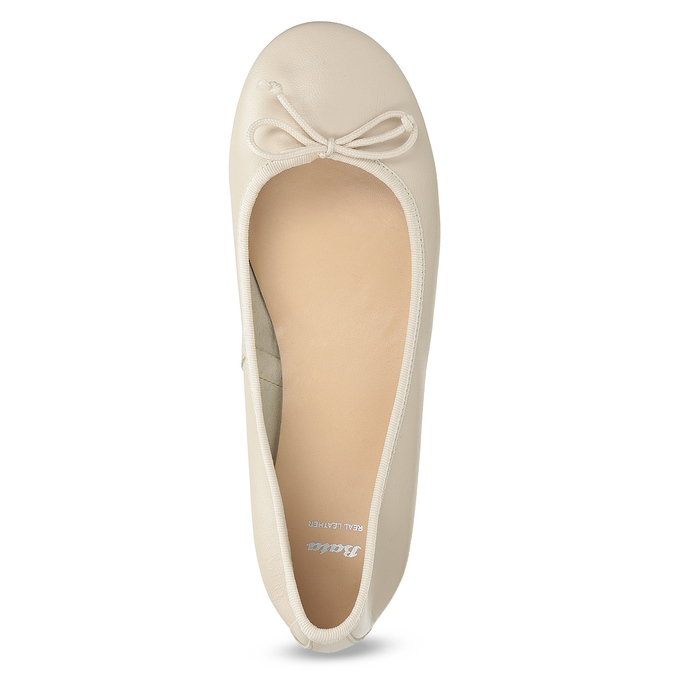 Leather ballerina shoes bata, beige , 524-8144 - 17