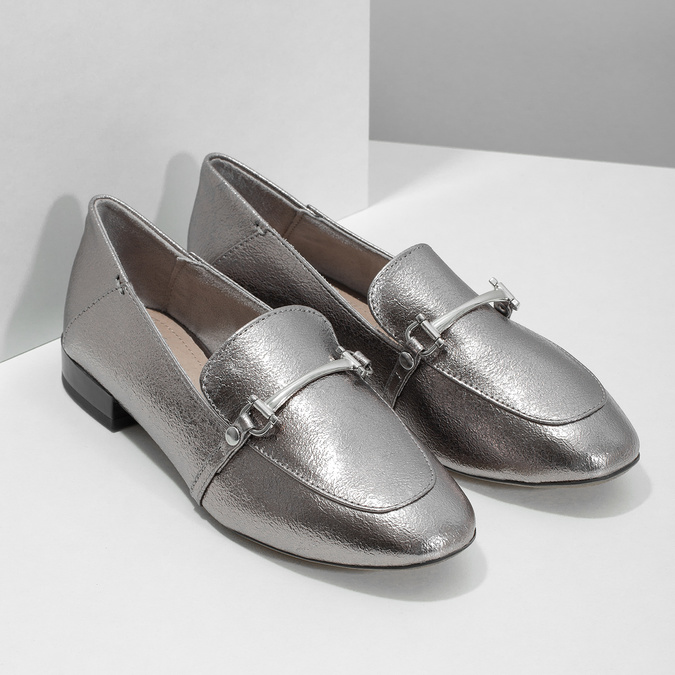 Silver moccasins with a buckle bata, silver , 511-1609 - 26