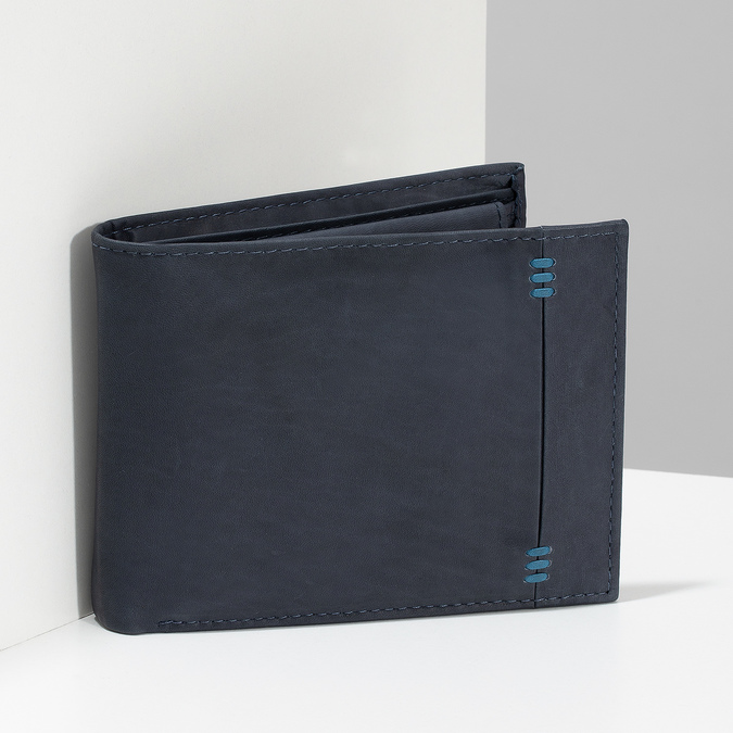 Men's leather wallet bata, blue , 944-9188 - 17