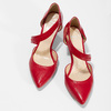 Leather pumps with T-strap bata, red , 724-5904 - 16